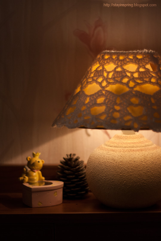 The latest making — crocheted cover for a night lamp