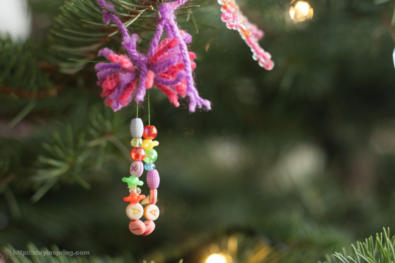 Handmade Christmas tree decoration, kids crafts