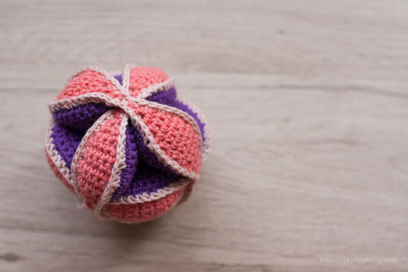 Amish Puzzle Ball -- crocheted baby toy
