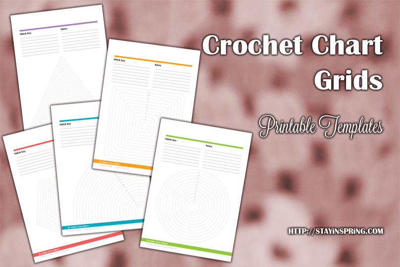 Empty crochet chart grid template