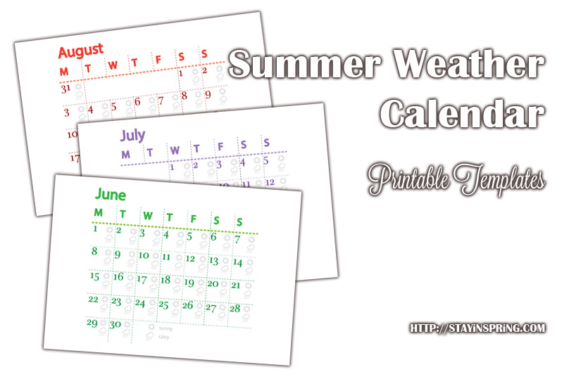 Free printable Summer Weather Calendar 2015